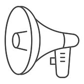 Loudspeaker thin line icon, audio concept, megaphone sign on white background, Loud speaker icon in outline style for mobile concept and web design. Vector graphics