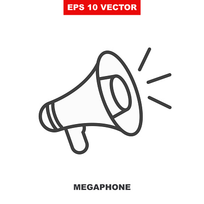 Loudspeaker vector icon for announce in public media. Loud speaker line symbol illustration for clear announcement isolated on white. Megaphone outline sign for notify or warning. V2