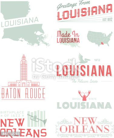 A set of vintage-style icons and typography representing the state of Louisiana, including Baton Rouge and New Orleans. Each items is on a separate layer. Includes a layered Photoshop document. Ideal for both print and web elements.