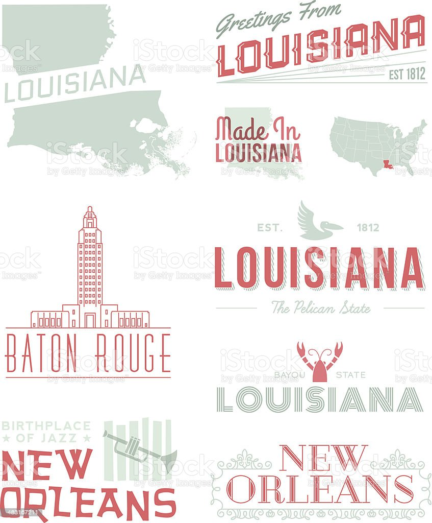 Louisana Typography vector art illustration