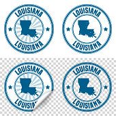 Map of Louisiana on a blue sticker and a blue rubber stamp. They are composed of the map in the middle with the names around, separated by stars. The stamp at the top right is created in a vintage style, a grunge texture is added to create a vintage and realistic effect. Vector Illustration (EPS10, well layered and grouped). Easy to edit, manipulate, resize or colorize. Please do not hesitate to contact me if you have any questions, or need to customise the illustration. http://www.istockphoto.com/portfolio/bgblue