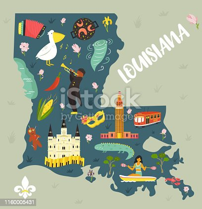 Louisiana Cartoon map with landmarks and symbols. For banners, books, prints, travel guides
