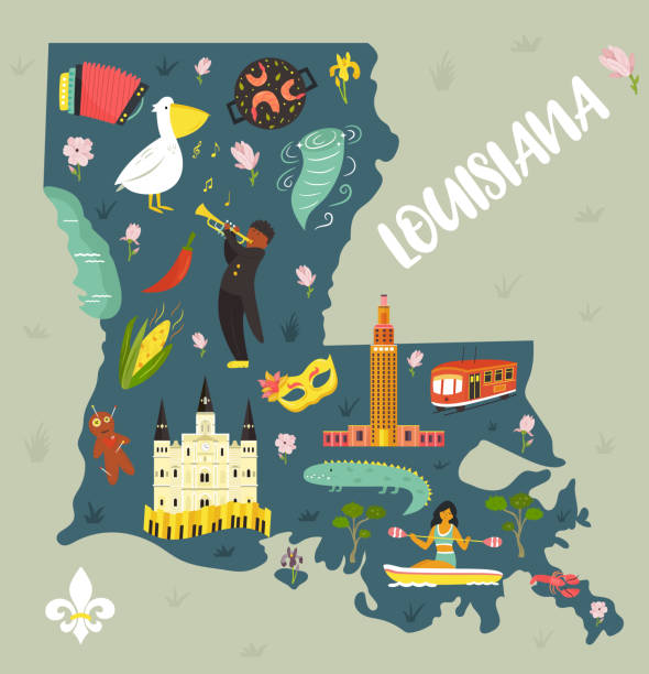 Louisiana Cartoon map with landmarks and symbols. For banners, books, prints, travel guides Louisiana Cartoon map with landmarks and symbols. For banners, books, prints, travel guides voodoo stock illustrations