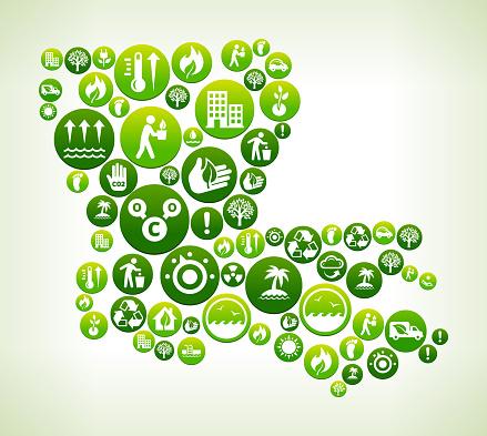 Louisiana Environmental Conservation Green Vector Button Pattern.