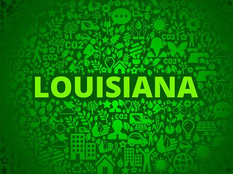 Louisiana Environmental Conservation Vector Icon Pattern