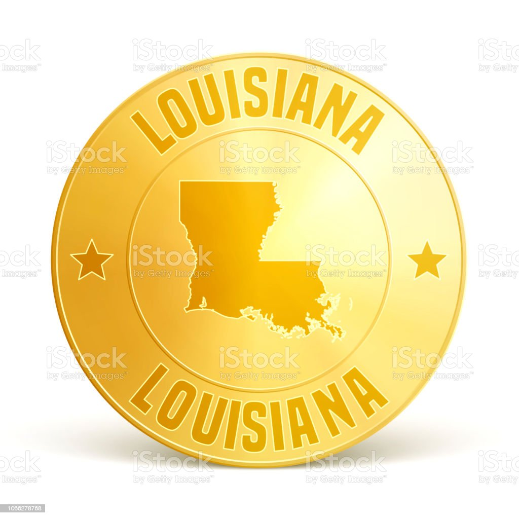 Louisiana - Gold coin on white background vector art illustration