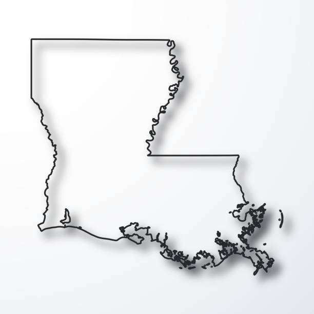 Louisiana Map Black Outline With Shadow On White Background Stock
