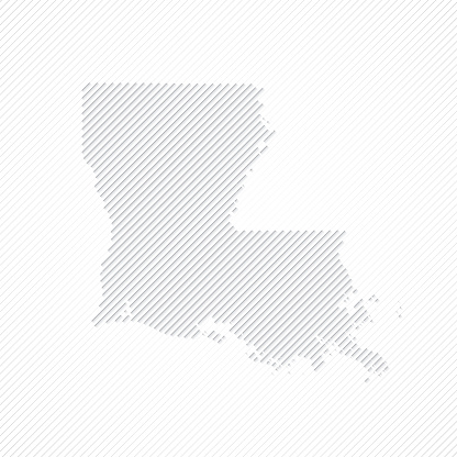 Louisiana map designed with lines on white background