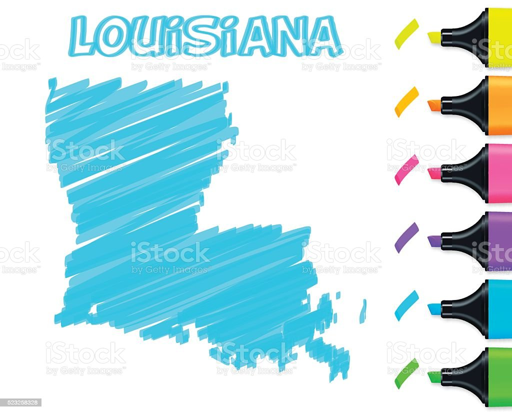 Louisiana map hand drawn on white background, blue highlighter vector art illustration