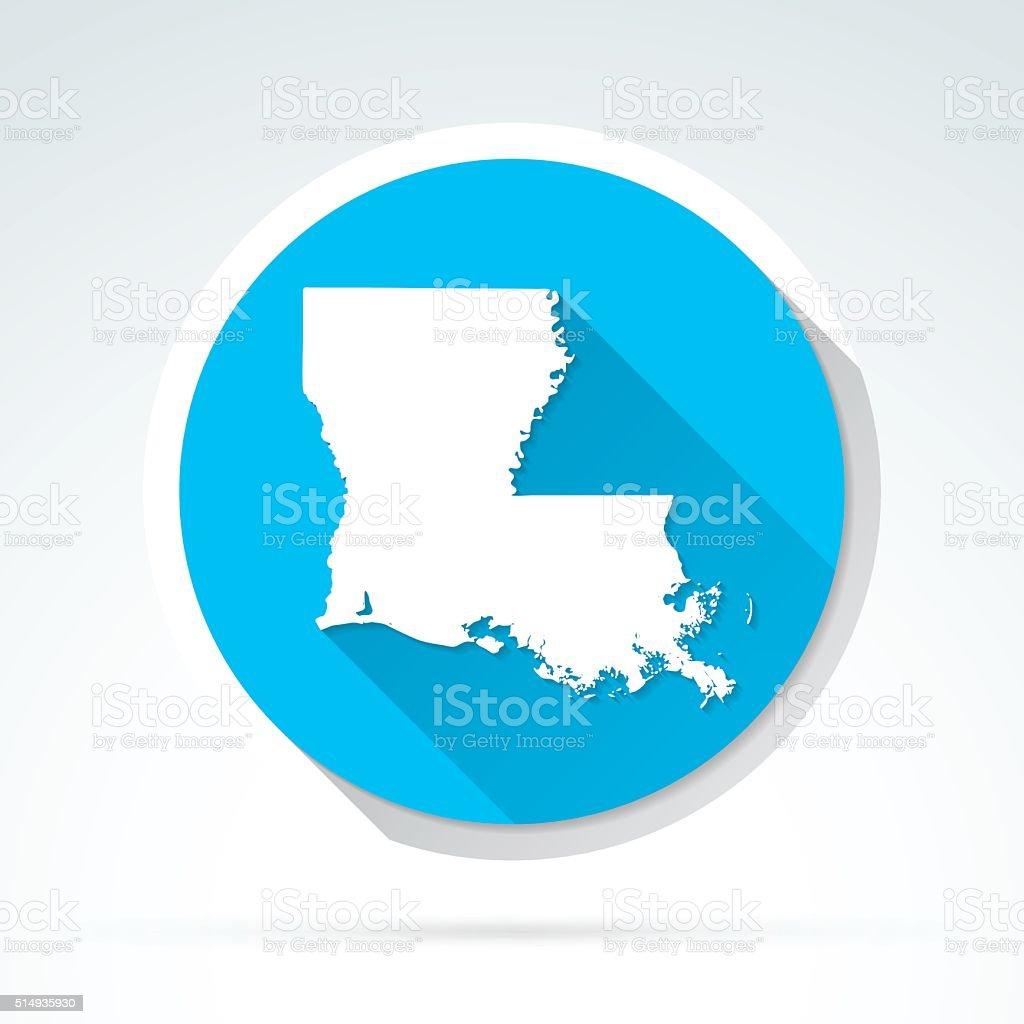 Louisiana map icon, Flat Design, Long Shadow vector art illustration