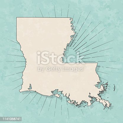 Map of Louisiana in a trendy vintage style. Beautiful retro illustration with old textured paper and light rays in the background (colors used: blue, green, beige and black for the outline). Vector Illustration (EPS10, well layered and grouped). Easy to edit, manipulate, resize or colorize.