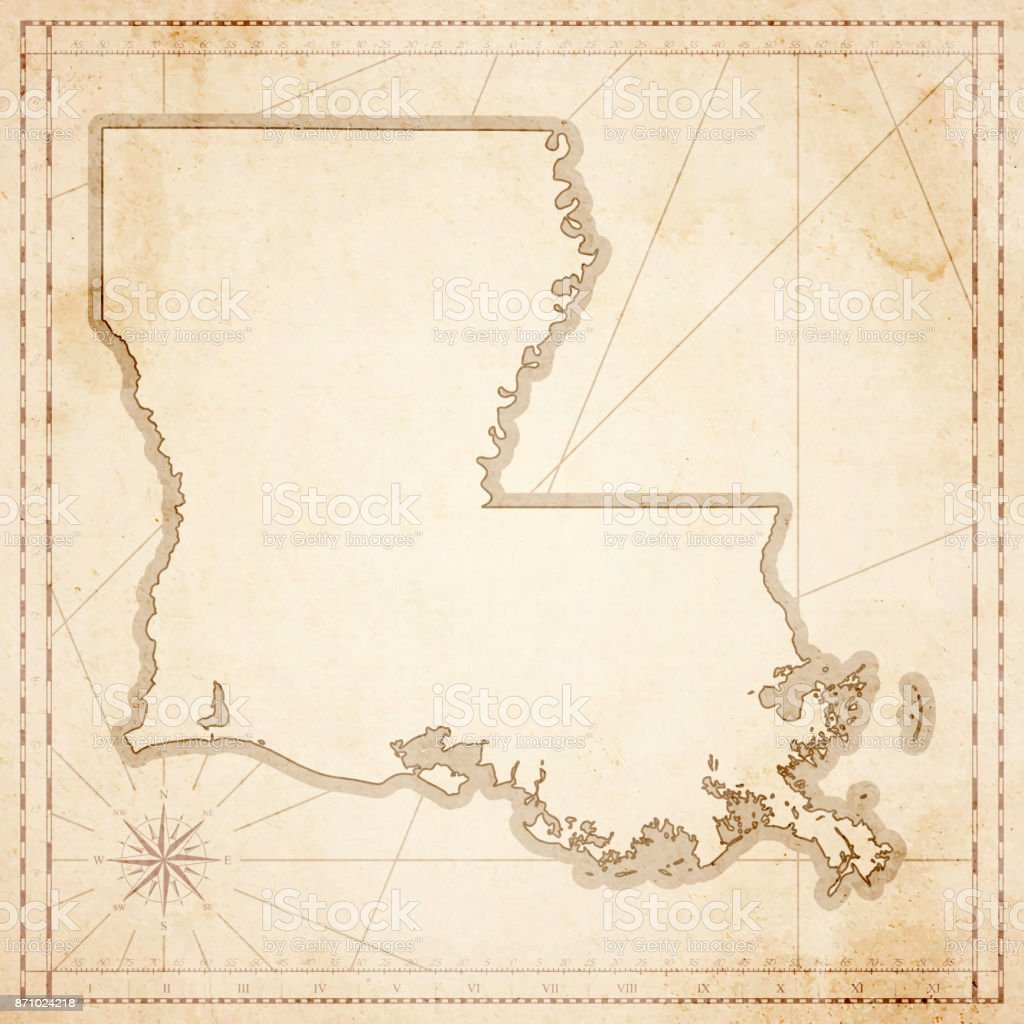 Louisiana map in retro vintage style - old textured paper vector art illustration