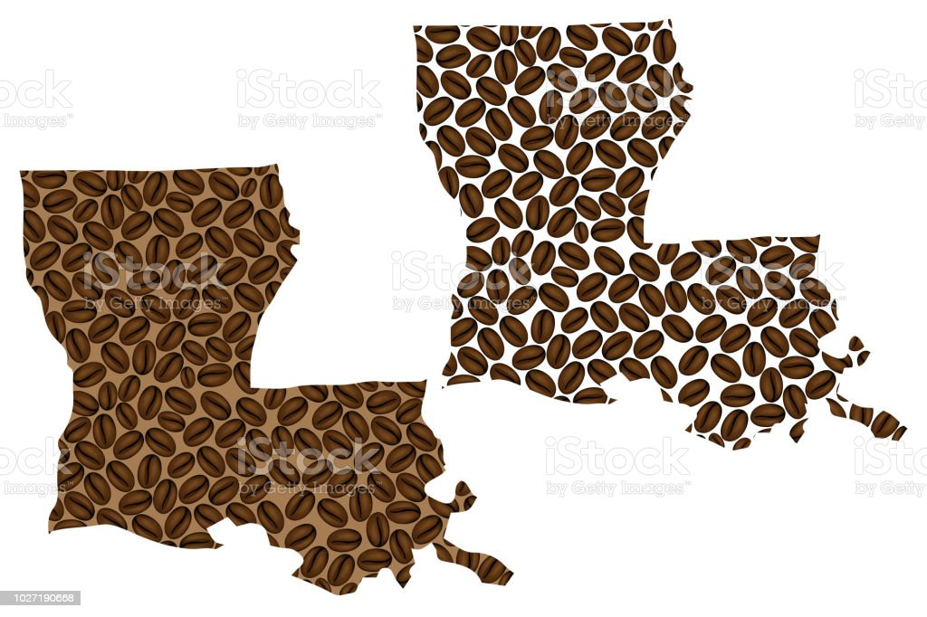 Louisiana -  map of coffee bean vector art illustration
