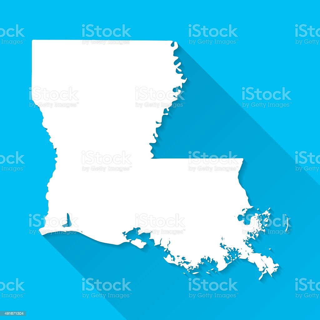 Louisiana Map on Blue Background, Long Shadow, Flat Design vector art illustration