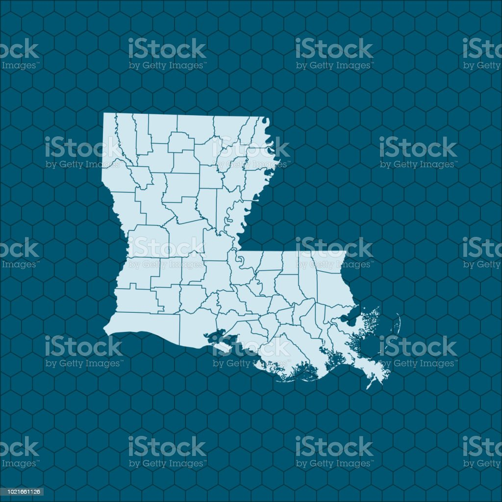 Louisiana Map Stock Vector Art & More Images of Gulf Coast States ...