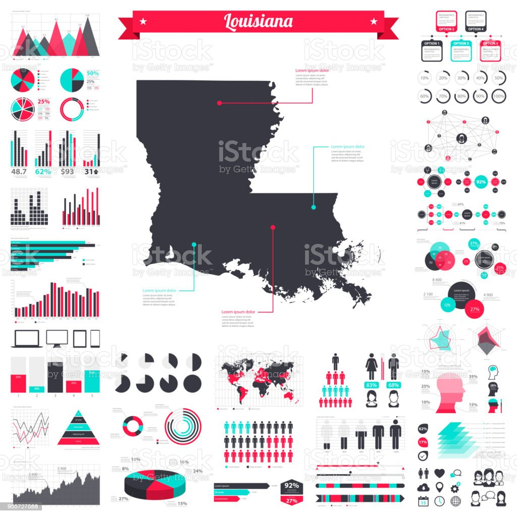 Louisiana map with infographic elements - Big creative graphic set vector art illustration