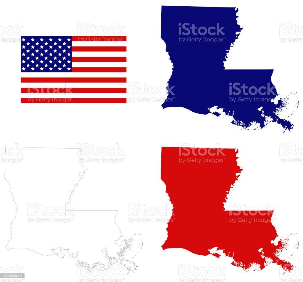 Louisiana map with USA flag vector art illustration
