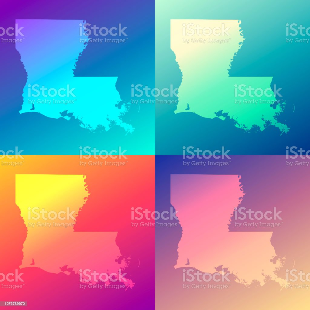 Louisiana maps with colorful gradients - Trendy background vector art illustration