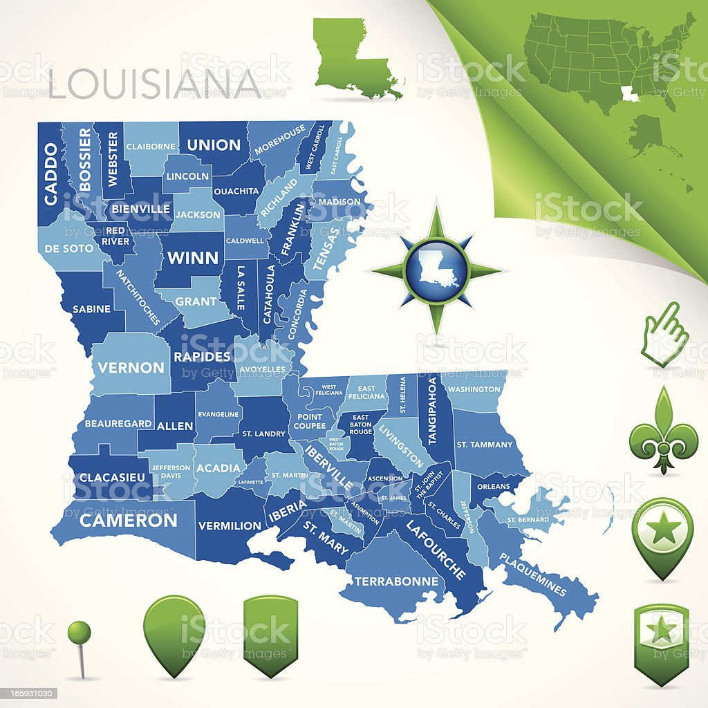 Louisiana Parish Map vector art illustration