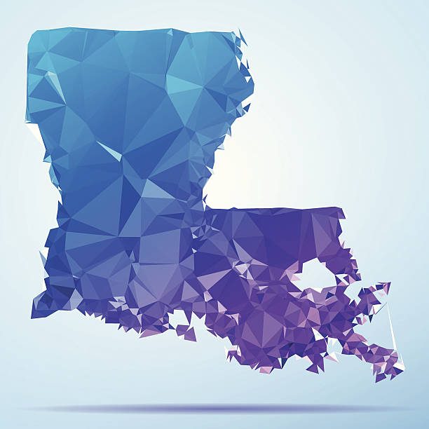 Louisiana Polygon Triangle Map Blue Abstract Polygon Triangle vector map of Louisiana, USA. File was created in DMesh Pro and Adobe Illustrator on May 21, 2014. The colors in the .eps-file are in RGB. Transparencies used. Included files are EPS (v10) and Hi-Res JPG (5035 x 5035 px). map crystal stock illustrations