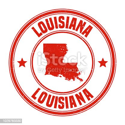Map of Louisiana on a red rubber stamp in vintage style. The stamp is composed of the map in the middle with the names around, separated by stars. A grunge texture is added to create a vintage and realistic effect. Vector Illustration (EPS10, well layered and grouped). Easy to edit, manipulate, resize or colorize.