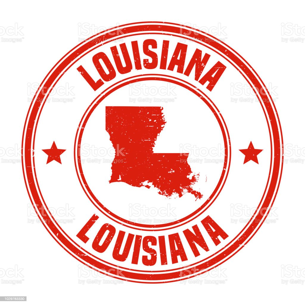 Louisiana - Red grunge rubber stamp with name and map vector art illustration