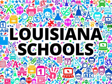 Louisiana Schools School and Education Vector Icon Background
