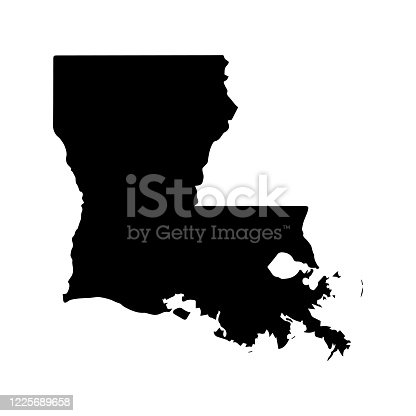 istock Louisiana silhouette USA state, American map illustration, America vector isolated on white background, glyph style 1225689658