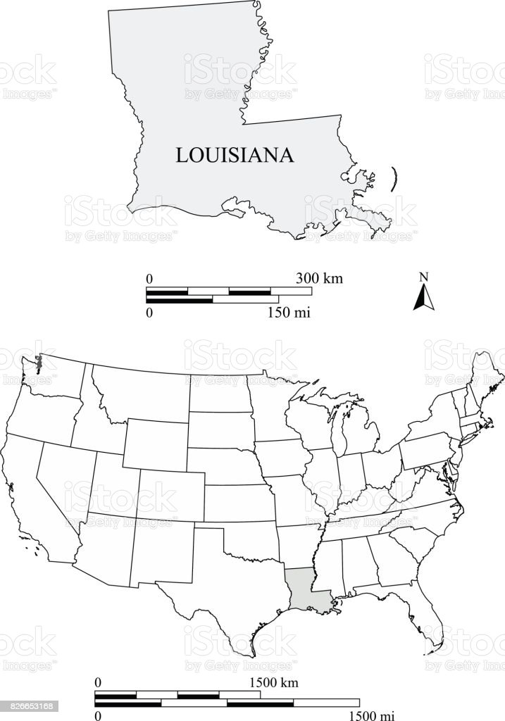 Louisiana State Of Us Map Vector Outlines With Scales Of Miles And - Lousiana state map