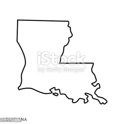 istock Louisiana - States of USA Outline Map Vector Template Illustration Design. Editable Stroke. 1277773090