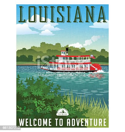 Louisiana travel poster or sticker. Vector illustration of paddle wheel riverboat and scenic landscape