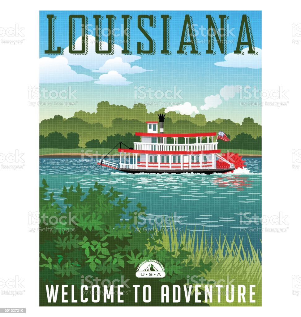Louisiana travel poster or sticker. Vector illustration of paddle wheel riverboat and scenic landscape vector art illustration