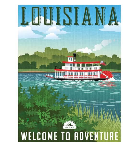 stockillustraties, clipart, cartoons en iconen met louisiana reizen poster of sticker. vectorillustratie van paddle wiel riverboat en schilderachtige landschap - rondvaartboot