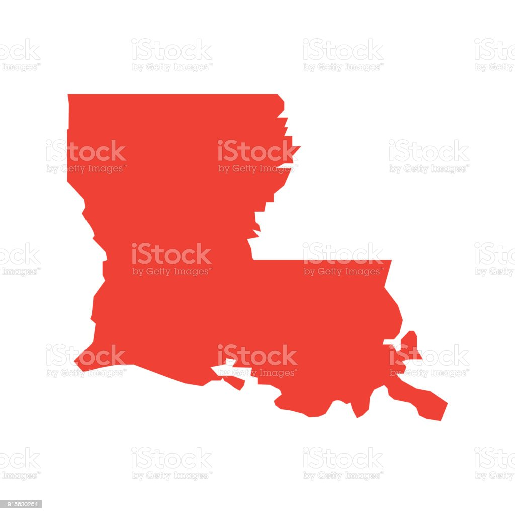 Louisiana vector map silhouette. State of Louisiana map contour isolated. vector art illustration