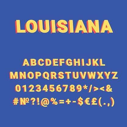 Louisiana vintage 3d vector alphabet set