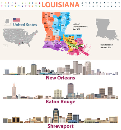 Louisiana's Congressional distrcits vector map with major cities skylines