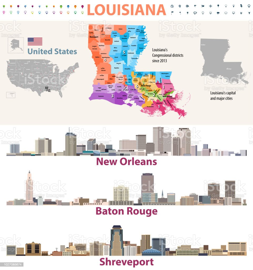 Louisiana's Congressional distrcits vector map with major cities skylines vector art illustration
