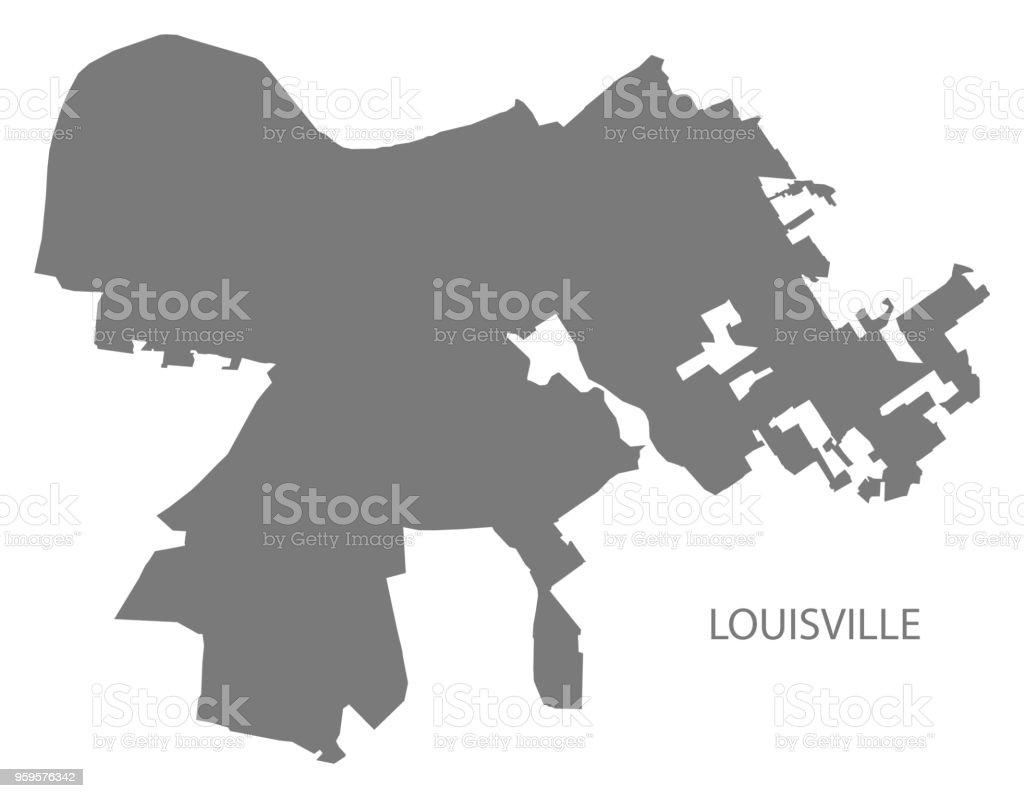 Louisville Kentucky Stadt Karte Grau Abbildung Silhouette Form Stock ...