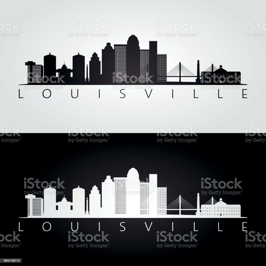Louisville usa skyline and landmarks silhouette, black and white design, vector illustration.