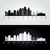 Louisville usa skyline and landmarks silhouette, black and white design, vector illustration.