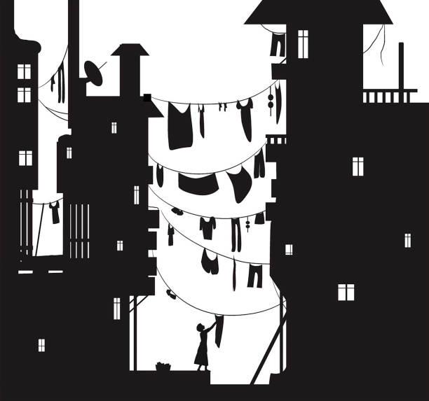 bildbanksillustrationer, clip art samt tecknat material och ikoner med diskmedlar dag i staden, kvinna jamie tvätt tyg, tyg som hängde mellan husen, sommaren mångfald visa med trasa tråd siluett, svart och vitt, - gränd