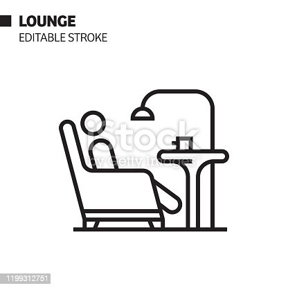 istock Lounge Line Icon, Outline Vector Symbol Illustration. Pixel Perfect, Editable Stroke. 1199312751