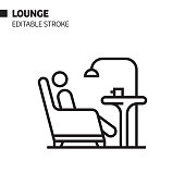 istock Lounge Line Icon, Outline Vector Symbol Illustration. Pixel Perfect, Editable Stroke. 1199312751