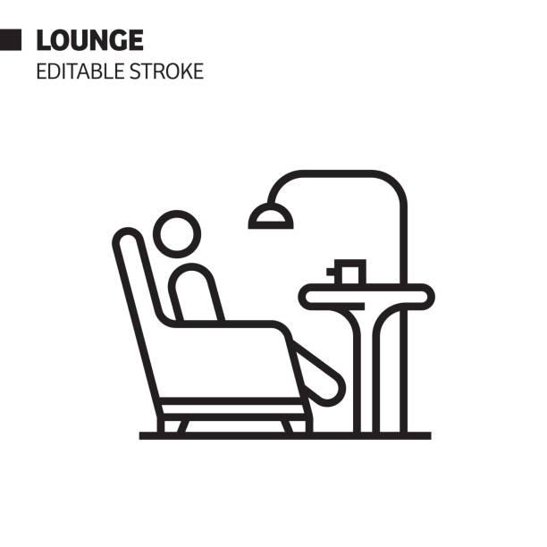 bildbanksillustrationer, clip art samt tecknat material och ikoner med ikon för loungelinje, skiss för vektor symbol. pixel perfekt, redigerbar stroke. - lounge