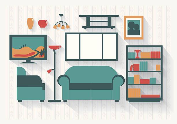 lounge oder wohnzimmer mit bücherregalen und möbel langen schatten - halbwände stock-grafiken, -clipart, -cartoons und -symbole