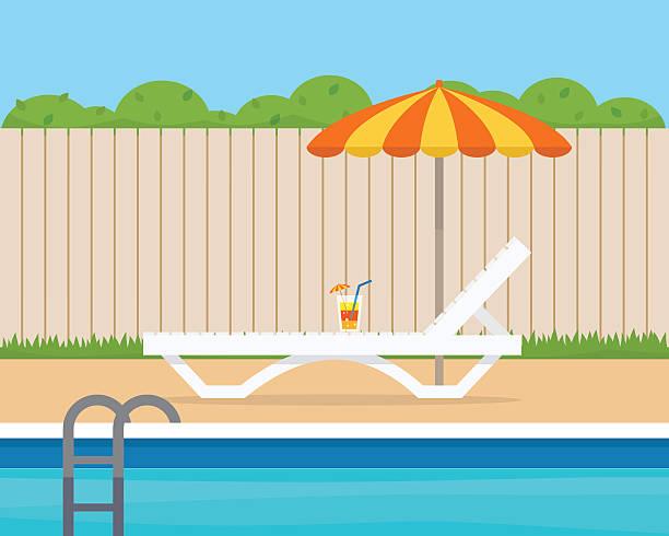 bildbanksillustrationer, clip art samt tecknat material och ikoner med lounge with umbrella near the pool - pool