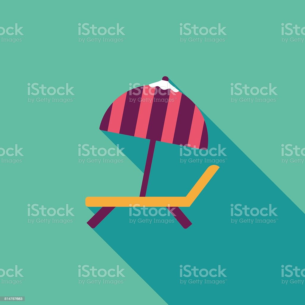 Lounger Beach Sunbed Chair flat icon with long shadow vector art illustration