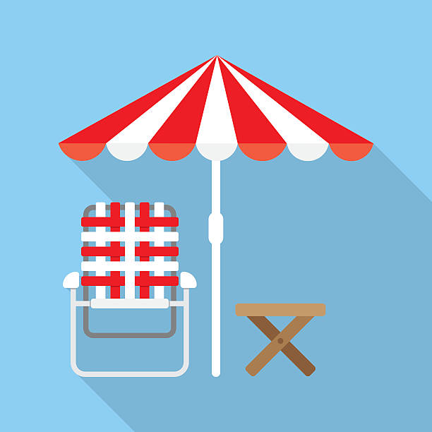 Lounger Beach Sunbed Beach Umbrella and Lounger Beach - Vector icon outdoor chair stock illustrations