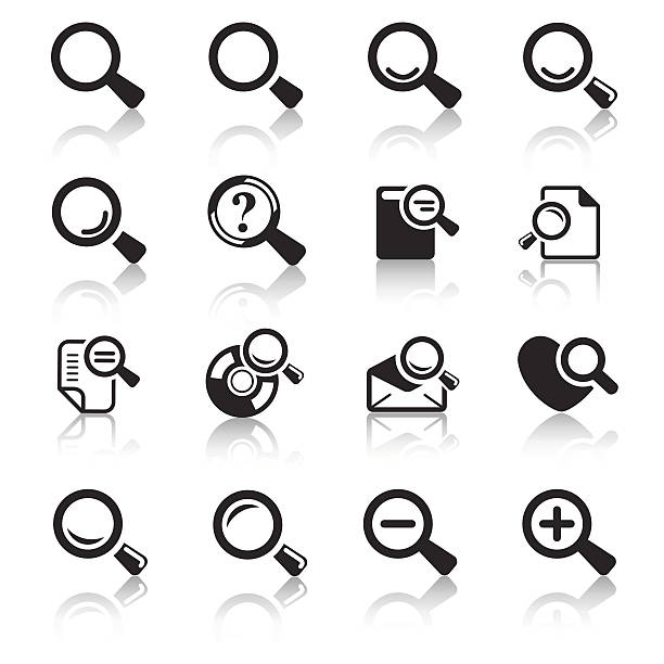 Loupe Icons & Simbols Loupe Icons & Simbols. Abstract vector illustration. low scale magnification stock illustrations