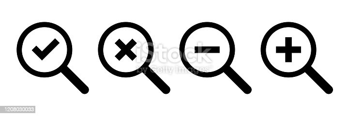 Loupe icons. Vector isolated symbols. Checkmark cross minus plus icons. Magnifying glass icon vector. Magnifying glass symbol. Check icon vector. Round button. EPS 10
